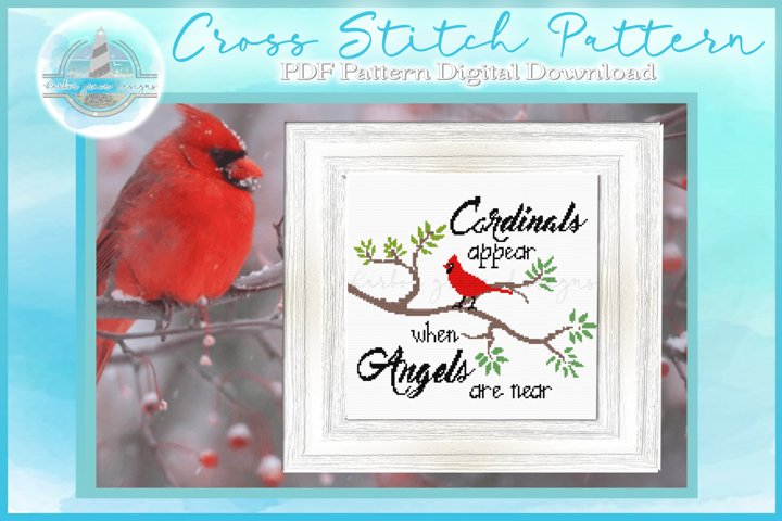 Counted Cross Stitch PDF Pattern | Cardinals Appear Quote