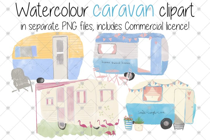 Caravan, Watercolour, Holiday, Camper, Camping, mobile home,