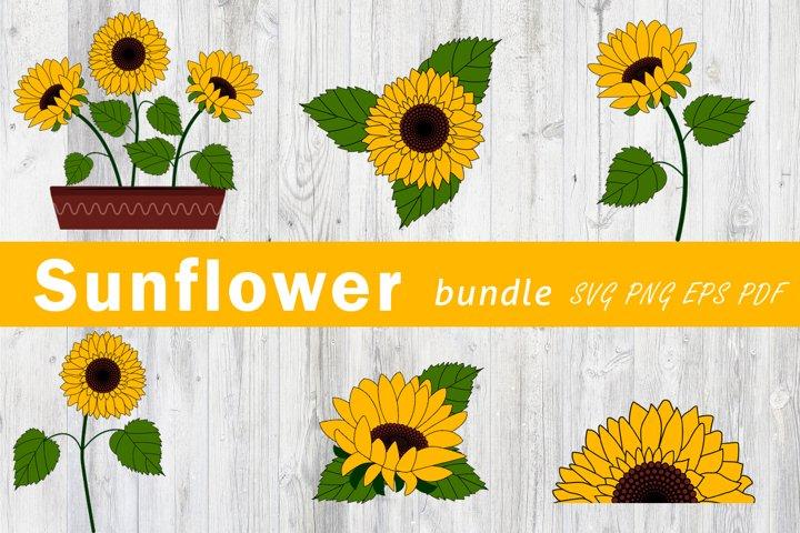 Sunflower svg. Sunflower bundle png.