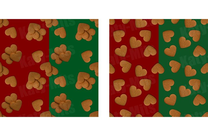 2 green and red seamless patterns of heart shaped cookies