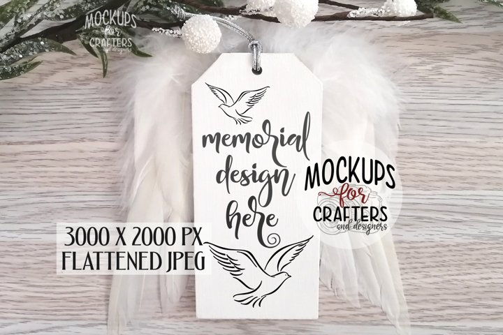Wood Ornament/Tag Mock-Up, feather wings, grieving, loss