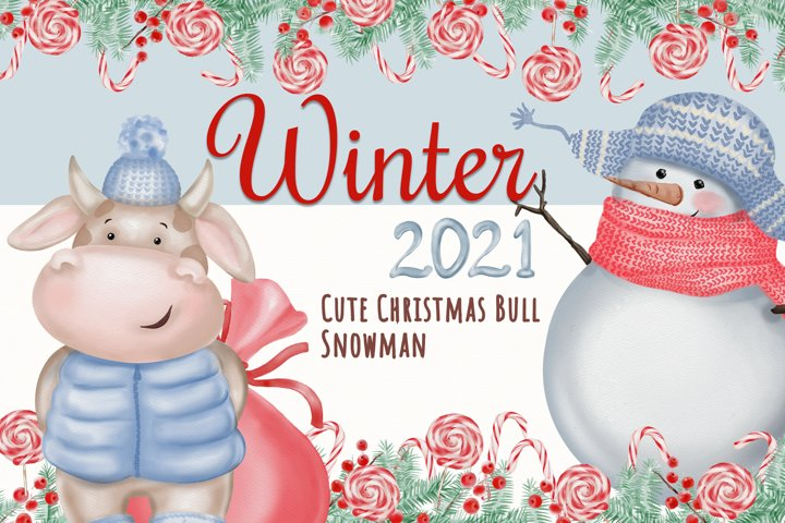 Watercolor Christmas Clipart. Christmas Bull. Snowman. PNG example