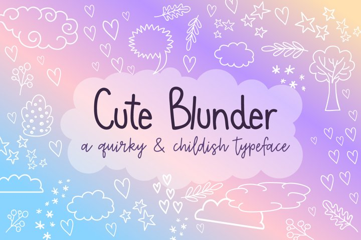 Cute Blunder- quirky hand-drawn font