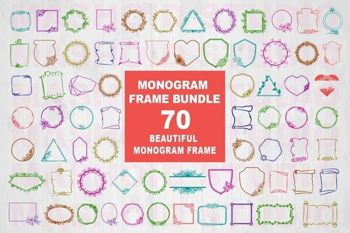 Monogram Frame Bundle, 70 Beautiful frame SVG Cut File