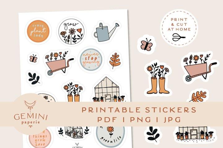 Gardening Printable Stickers   Cricut Design Sticker Sheet
