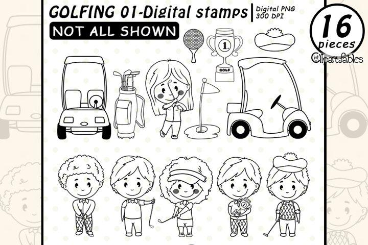 Cute GOLF DIGITAL STAMPS, Golfing kids, PNG, Golf club
