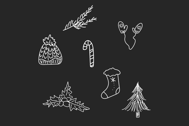 Winter doodle set isolated vector illustration.
