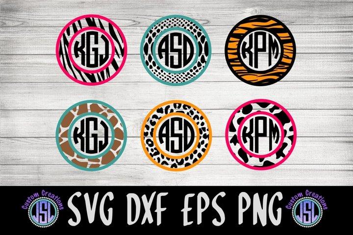Animal Print Monogram Frame | Set of 6 | SVG DXF EPS PNG