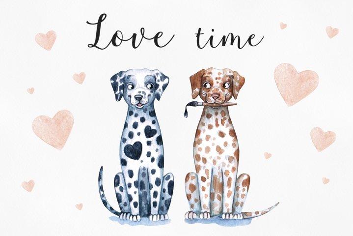 Watercolor love illustrations. 14 Februry. Sweet Valentines