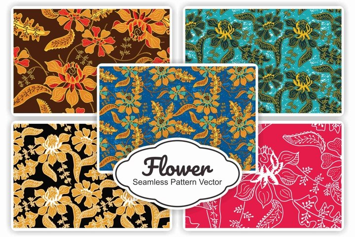 5 Collection Flower Seamless Pattern Vector