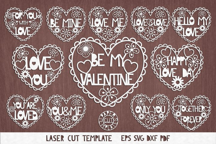 SVG Set of valentines for cutting.