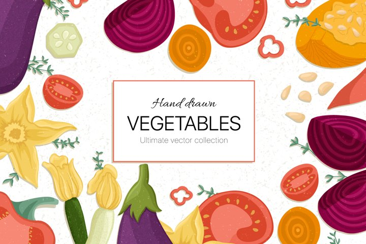 Hand drawn vegetable vector collection