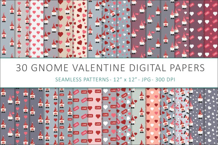 Gnome Valentines digital papers - 30 Seamless Designs