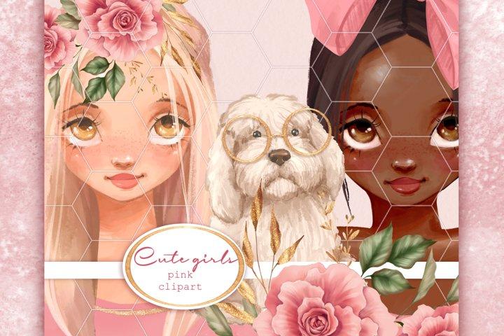 Cute girls. Pink clipart