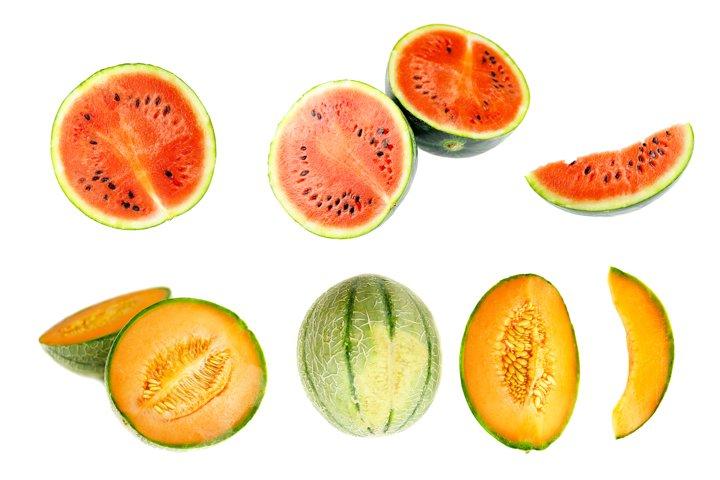5 sets of flying fruits on white background.