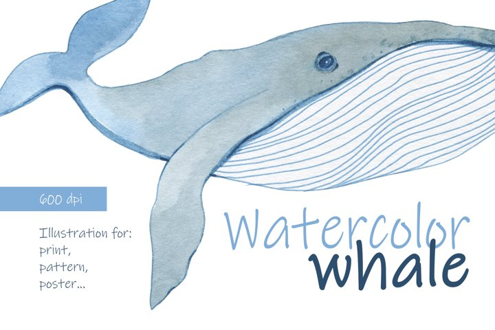 Whale watercolor. Print.