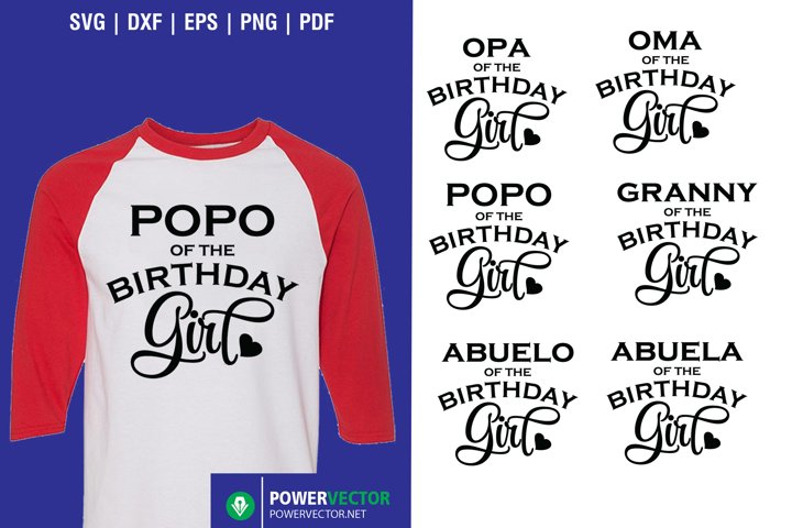 Grand Parents of the Birthday Girl Shirt Designs