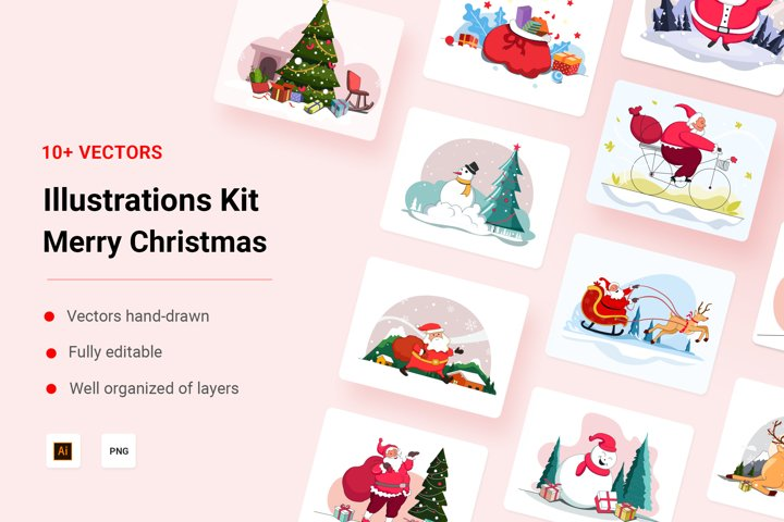 Merry Christmas Illustration Kit