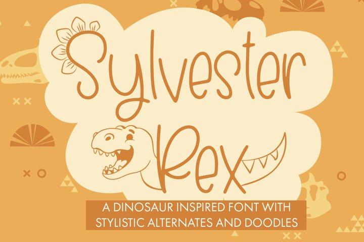 Sylvester Rex - Handwritten Dinosaur Font With Doodles