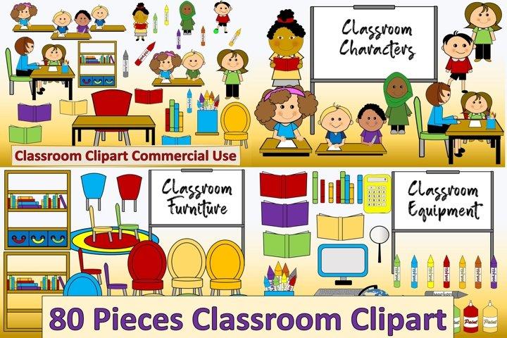 Classroom Teacher Clipart Bundle 80 Pieces PNG CUOK