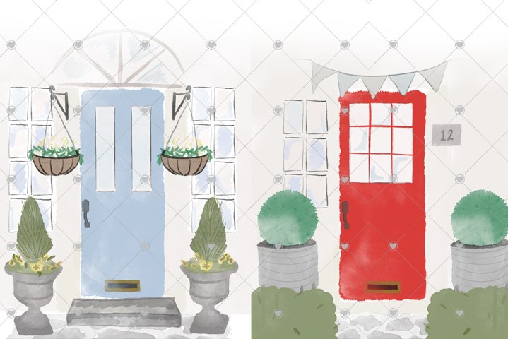 Watercolour Front Door Creator, House Clipart, Home, Door,