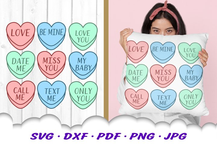 Valentines Day Candy Hearts SVG DXF Cut Files