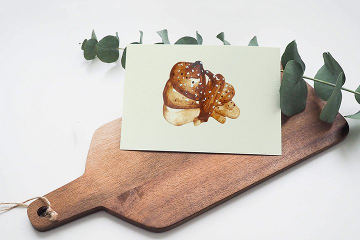 Watercolor cinnamon bun