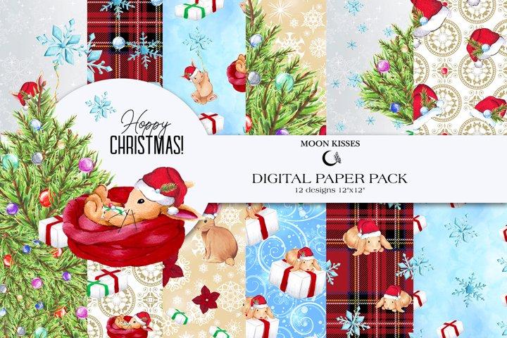 Christmas Digital Paper Pack Cute Bunny Watercolor Scrapbook