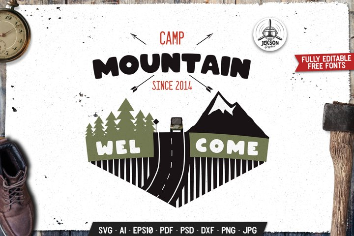 Mountain Camp SVG Retro Logo Outdoor Adventure Label DXF PNG