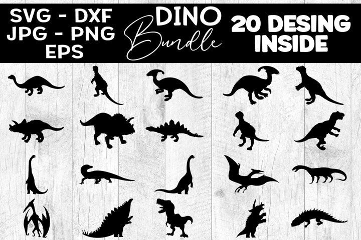 20 Dinosaur SVG, Dinosaur Silhouette SVG Bundle