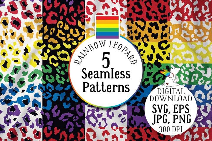 Rainbow Leopard Seamless Patterns, SVG, LGBTQ pride