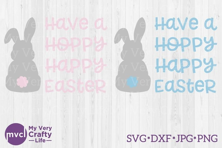 Have a Hoppy Happy Easter with Bunny and Tail SVG Cut File