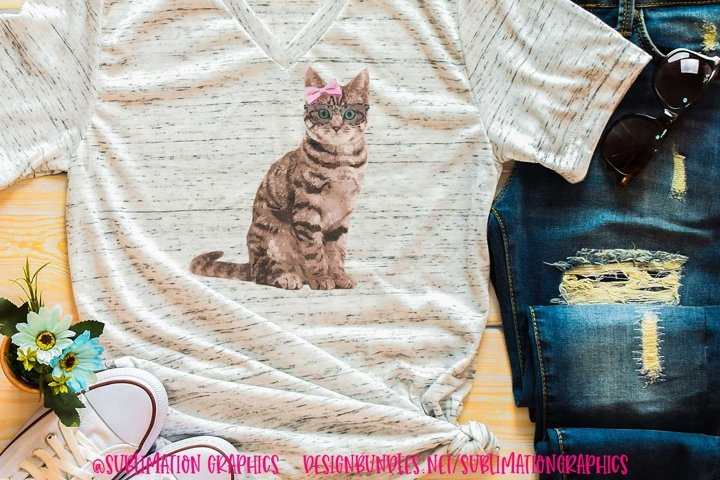Brown Cat With Bow & Glasses Sublimation Digital Download