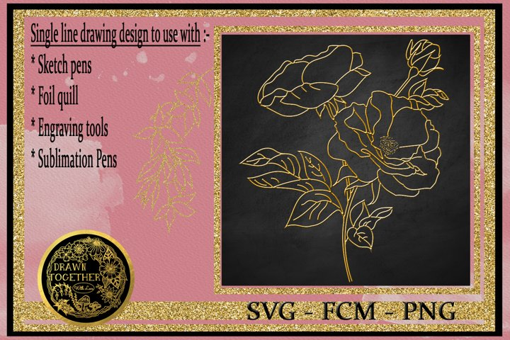 Wild Rose - Single line for foil quill