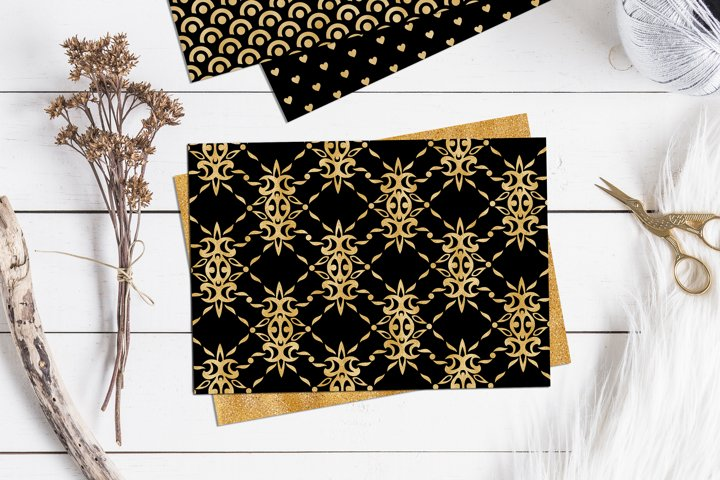 Black and Gold Seamless Papers - Damask & Geometric Patterns example 1