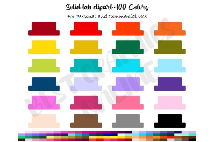 100 Solid tab planner stickers clipart set, 100 colors