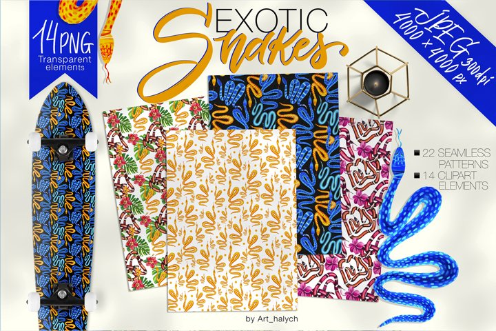 Exotic snakes - clipart and seamless patterns PNG & JPEG