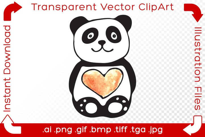 Panda Vector ClipArt Illustration Bear Red Valentine Heart