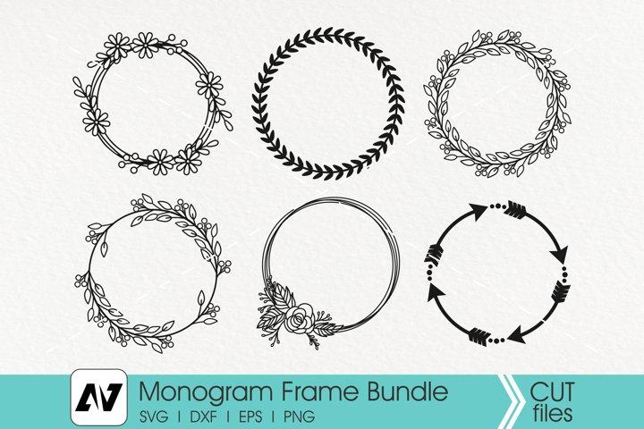 Monogram Svg, Monogram Frame Svg, Wreath Monogram Svg