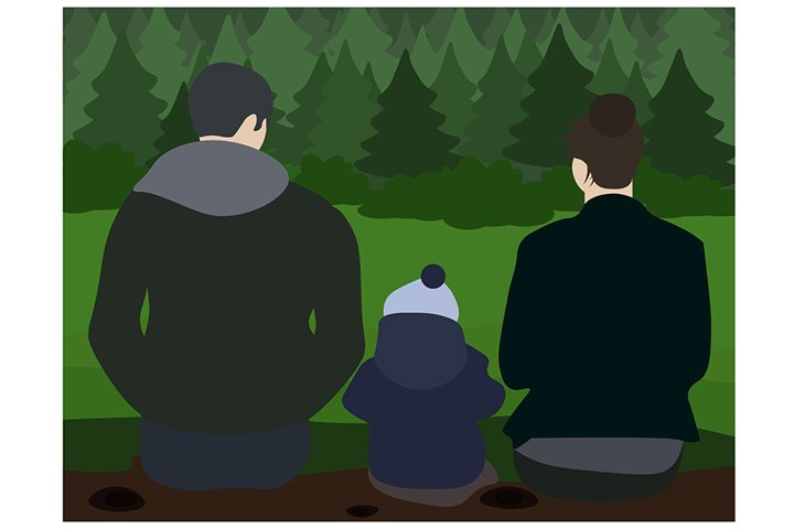 Young happy family - mom, dad and son are sitting