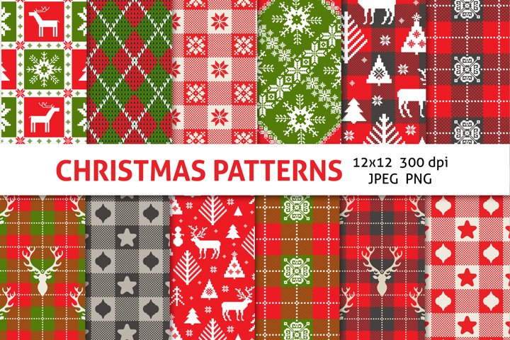 CHRISTMAS PLAID scrapbooking paper pack
