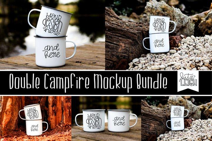 Double Stack White Campfire Mug Mockup Bundle