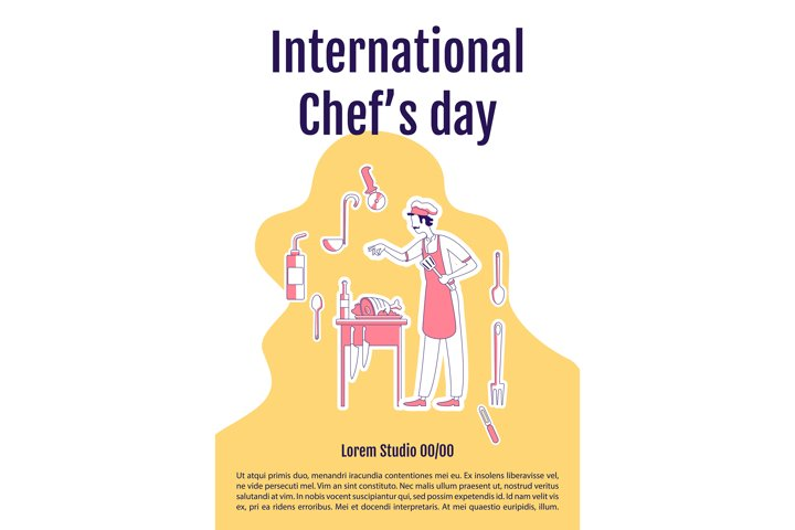 International chefs day poster silhouette vector template