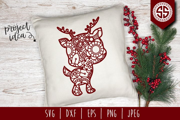 Reindeer Mandala Zentangle SVG, DXF, EPS, PNG, JPEG