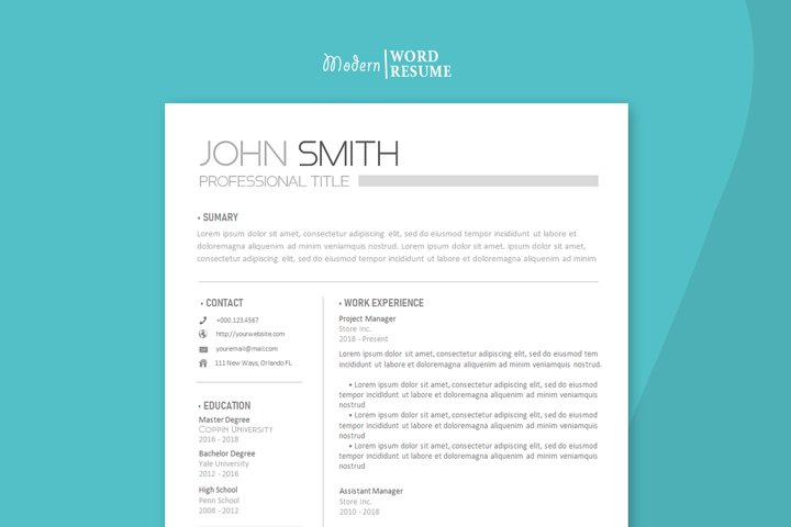 Resume template two pages Cover letter and Reference page