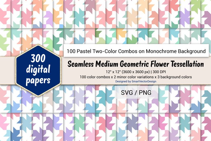 Geom Flower Tessellation-100 Pastel Two-Color Combos on BG