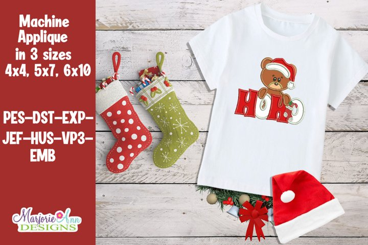 Ho Ho Christmas Bear Applique/Embroidery Design