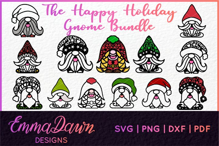 THE HAPPY HOLIDAY GNOME SVG BUNDLE 13 DESIGNS