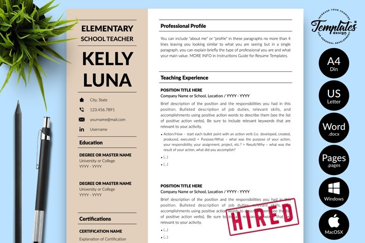 Teacher Resume CV Template for Word & Pages Kelly Luna