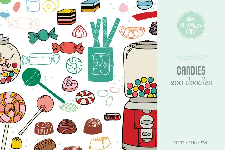 Hand Drawn Candies Doodles Colored | Vintage Sweets